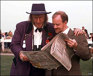 Robin Cook with racing commentator John McCririck in 1997