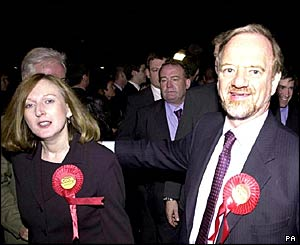 Cook with wife Gaynor (left) on election night 2001