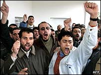 Hamas supporters celebrate the news of the results in the West Bank.