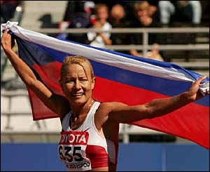 Russia's Olimpiada Ivanova celebrates after winning gold