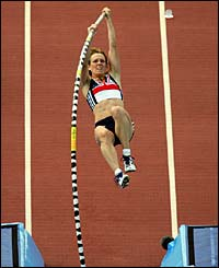 Janine Whitlock competes during the women's pole vault qualifying