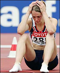 Kelly Sotherton is distraught after the javelin