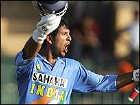 Yuvraj Singh celebrates his century