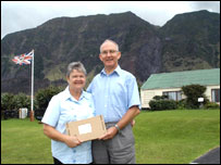 Mike Hentley and his wife with his new parcel