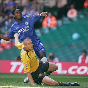 Didier Drogba scores for Chelsea in the Community Shield