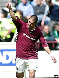 Rudi Skacel celebrates Hearts' opening goal
