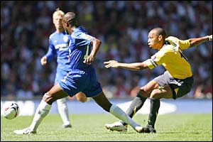 Thierry Henry shoots at the Arsenal goal