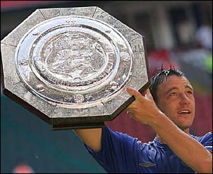 Chelsea skipper John Terry lifts the Community Shield