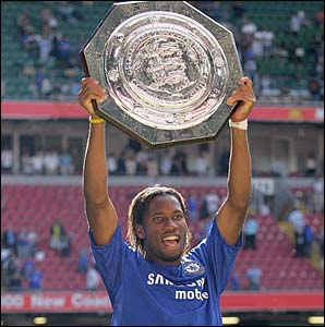 Didier Drogba lifts the Community Shield aloft