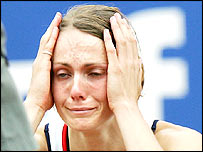 Kelly Sotherton is distraught after the javelin in the heptathlon