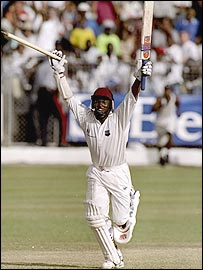Brian Lara celebrates after guiding West Indies to victory in Bridgetown