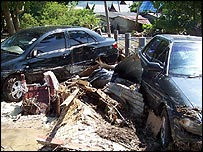Many cars were left damaged after the wave hit Phuket (picture: Maurice de Jong)