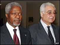 UN Secretary General Kofi Annan and Benon Sevan (file photo)