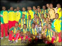 The Ethiopian team with the Cecafa Cup
