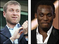 Chelsea owner Roman Abramovich (left) has stepped into the chase for Michael Essien