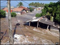 Flooding in Maddampegama, about 60km (38 miles) south of Colombo