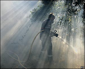 Firefighter at Mont San Cristobal north of Pamplona, Spain