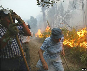 Fire in Moncao, northern Portugal