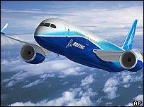 Computer generated image of Boeing's new 787 Dreamliner