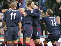 Portsmouth celebrate Linvoy Primus's goal