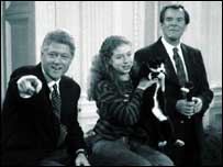 Peter Jennings with Bill and Chelsea Clinton
