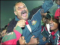 Bangladesh coach Dav Whatmore celebrates a fantastic win