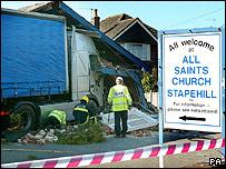 lorry embedded in church