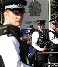 Armed officers outside Belmarsh prison