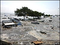 A view of Chennai's Marina Beach that was completely flooded by the sea waters on the morning of December 26, 2004. The tidal waves lashed the coastal city after a quake hit the city early in the morning.