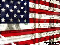 US flag with superimposed dollar bills
