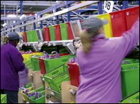 Ocado staff at work in the Hatfield warehouse
