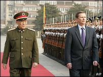 Russian Defence Minister Sergei Ivanov (right) during his Beijing visit