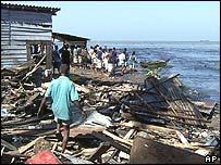 Debris of houses in Colombo