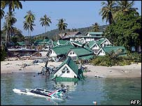 A hotel lies submerged on Phi Phi island, Thailand