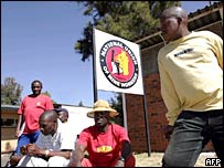 South African striking mineworkers