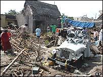 Scene of destruction at Velankanni near Nagappattinam in Tamil Nadu