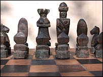 Bob Berridge spent many hours carving a wooden chess set