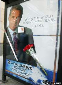 Flowers left on a poster of Jennings in New York City