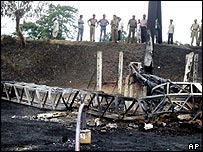 Remains of a oil pipeline in eastern India