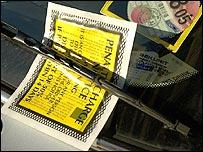 A parking ticket on a windscreen