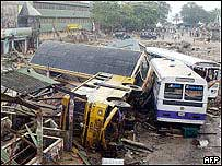 The damaged bus station in Galle, Sri Lanka
