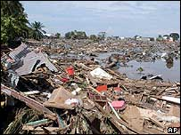 Destroyed houses are seen in Banda Aceh, Indonesia - 27/12/04