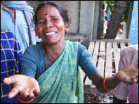 Selvi, a resident of Tamil Nadu, in southern India grieves for her lost son.