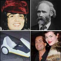 Pictures (clockwise) of Donny Osmond, Keir Hardie, Julien MacDonald and a Sinclair C5