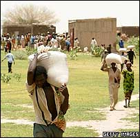 People collecting food aid