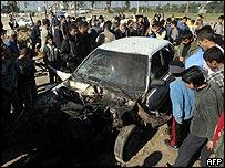 Car in Gaza hit by Israeli air strike