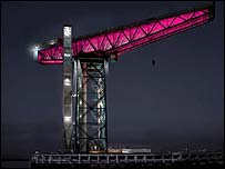 An artist's impression of the illuminated crane