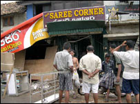 Damage to a sari shop in Galle (photo: Sanjoy Majumder)