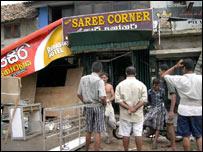 Damage to a sari shop in Galle (photo: Sanjoy Majumder)