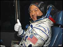 US astronaut Leroy Chiao prepares for lift-off aboard a Russian spacecraft